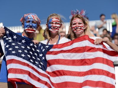 LONDON, ENGLAND - SEPTEMBER 5: Decorated USA fans attend the Men's Team Football 7-a-side preliminary match between the United States and Great Britain on Day 7 of the London 2012 Paralympic Games at the Riverbank Arena in the Olympic Park on September 5, 2012 in London, England. Great Britain won the match 3-0. (Photo by Justin Setterfield/Getty Images)